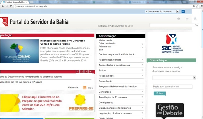 Contracheque Portal do Servidor BA