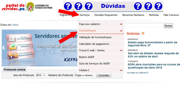 Contracheque portal do Servidor PA