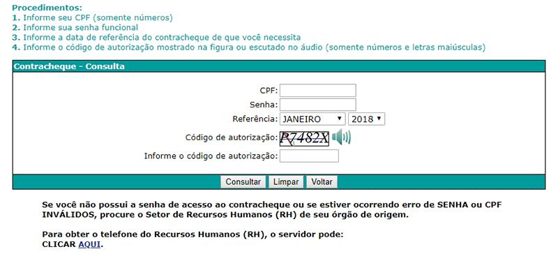 validar consulta Contracheque Goiás