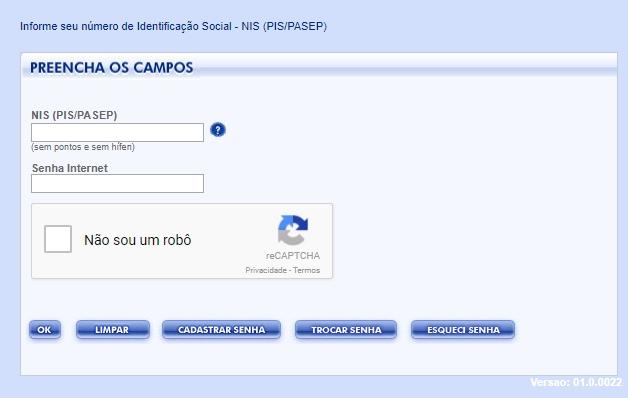 Consulta PIS pela Internet